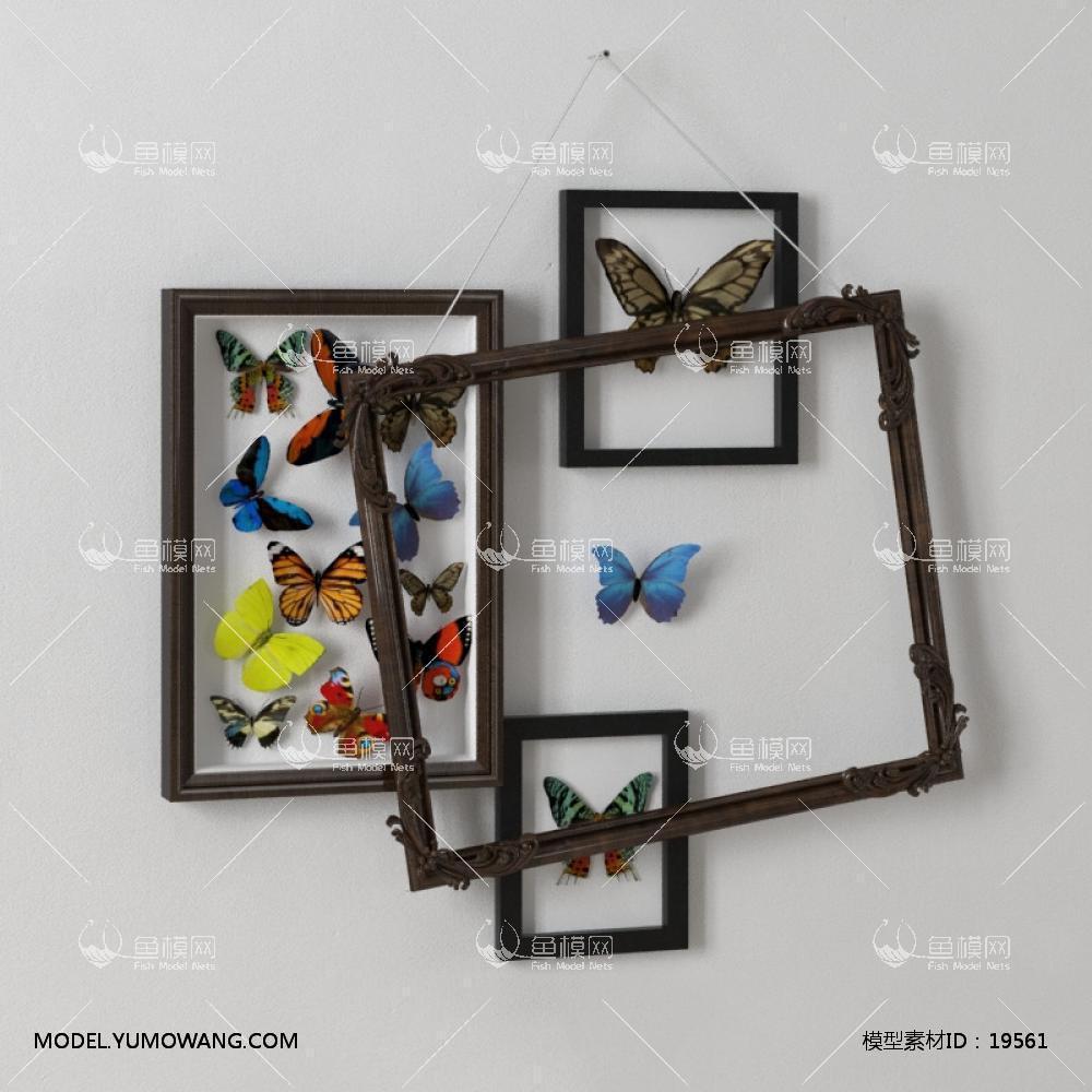 北欧风蝴蝶装饰画框3d模型