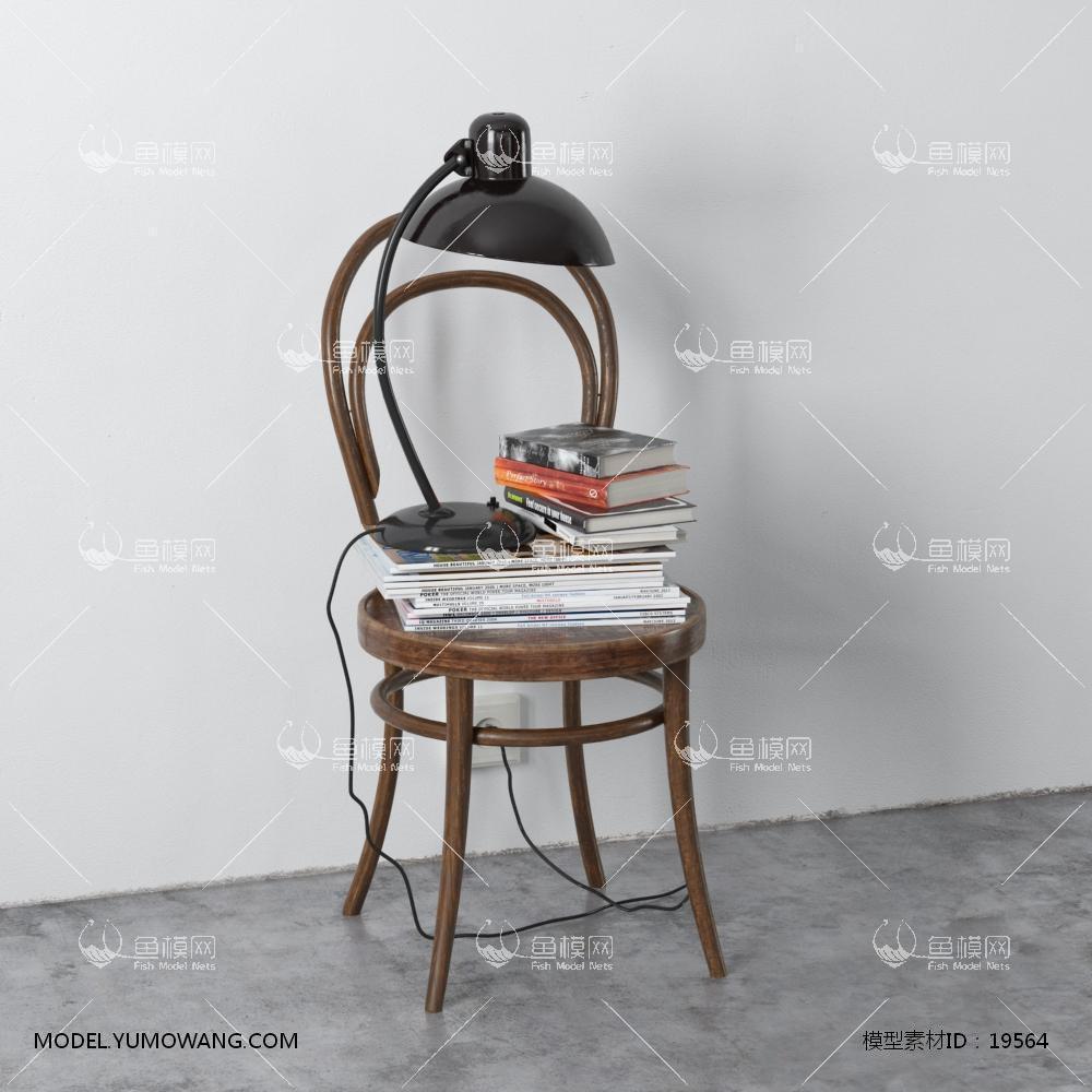 北欧椅子台灯书籍装饰3d模型