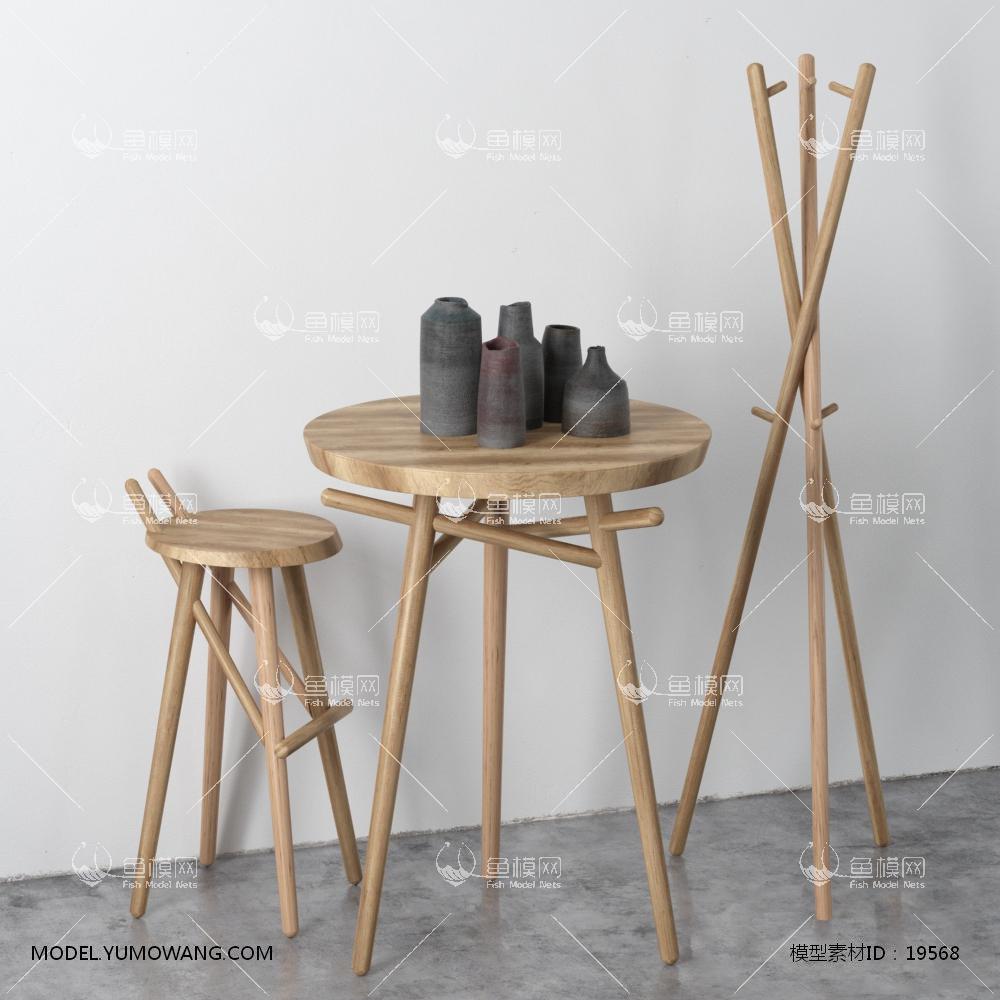 现代北欧风格装饰桌椅衣架组合3d模型