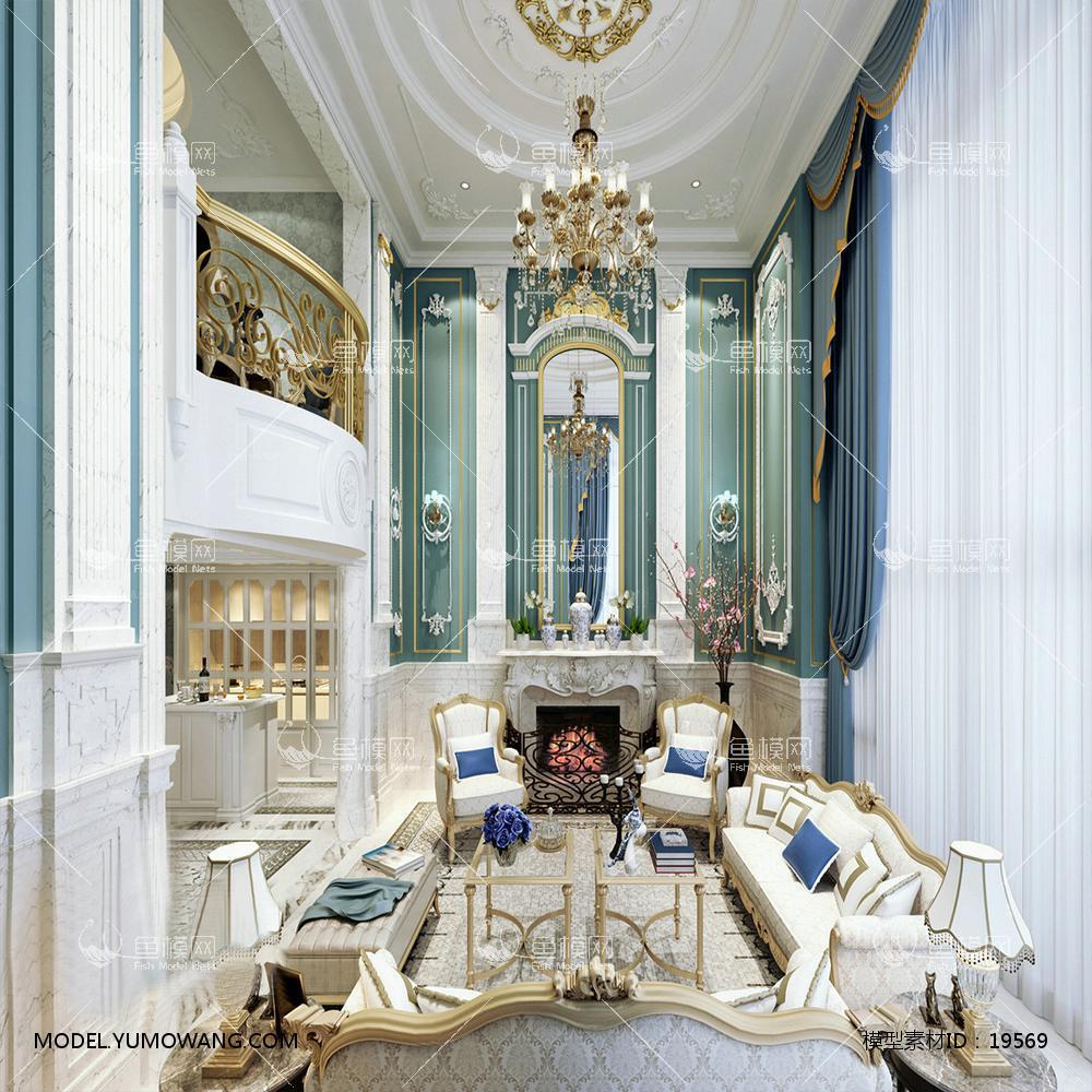 法式豪华客厅3d模型