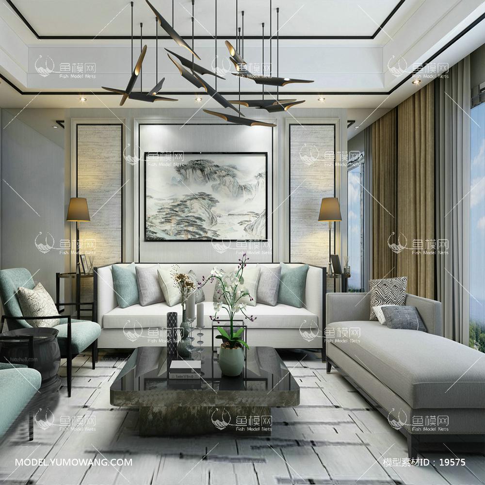 新中式浅色客厅3d模型