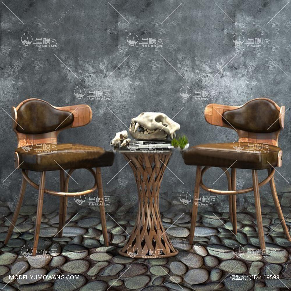 现代木质椅子单椅3d模型