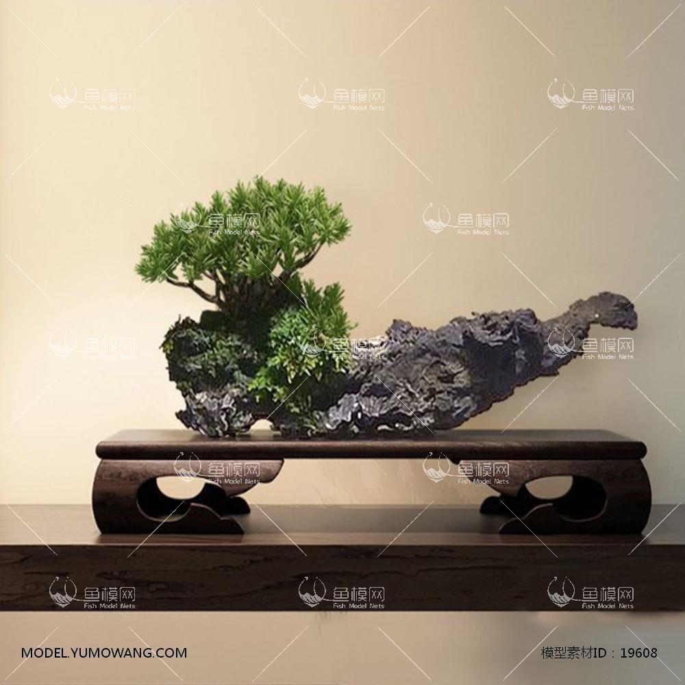 现代新中式木雕摆件3d模型