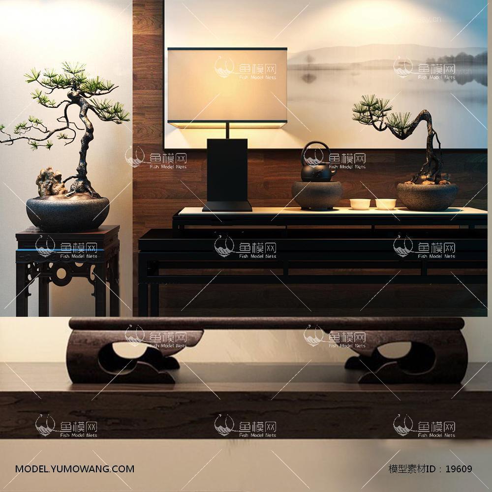 新中式花艺陈设品组合3d模型