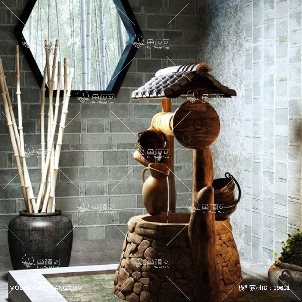 中式庭院景观组合3d模型
