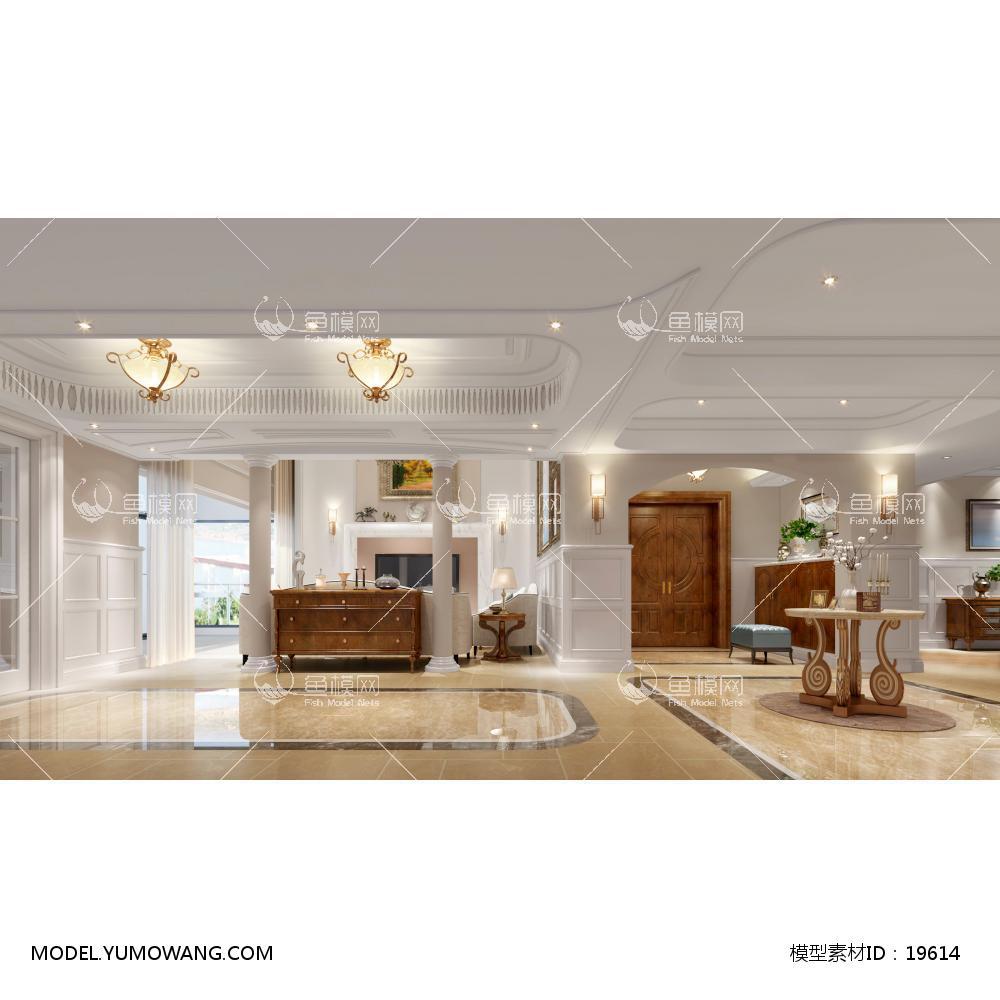 欧式别墅大厅273d模型