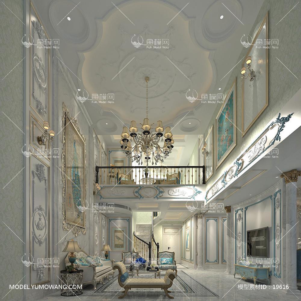 欧式别墅大厅43d模型