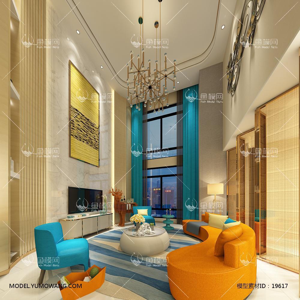 现代别墅大厅103d模型