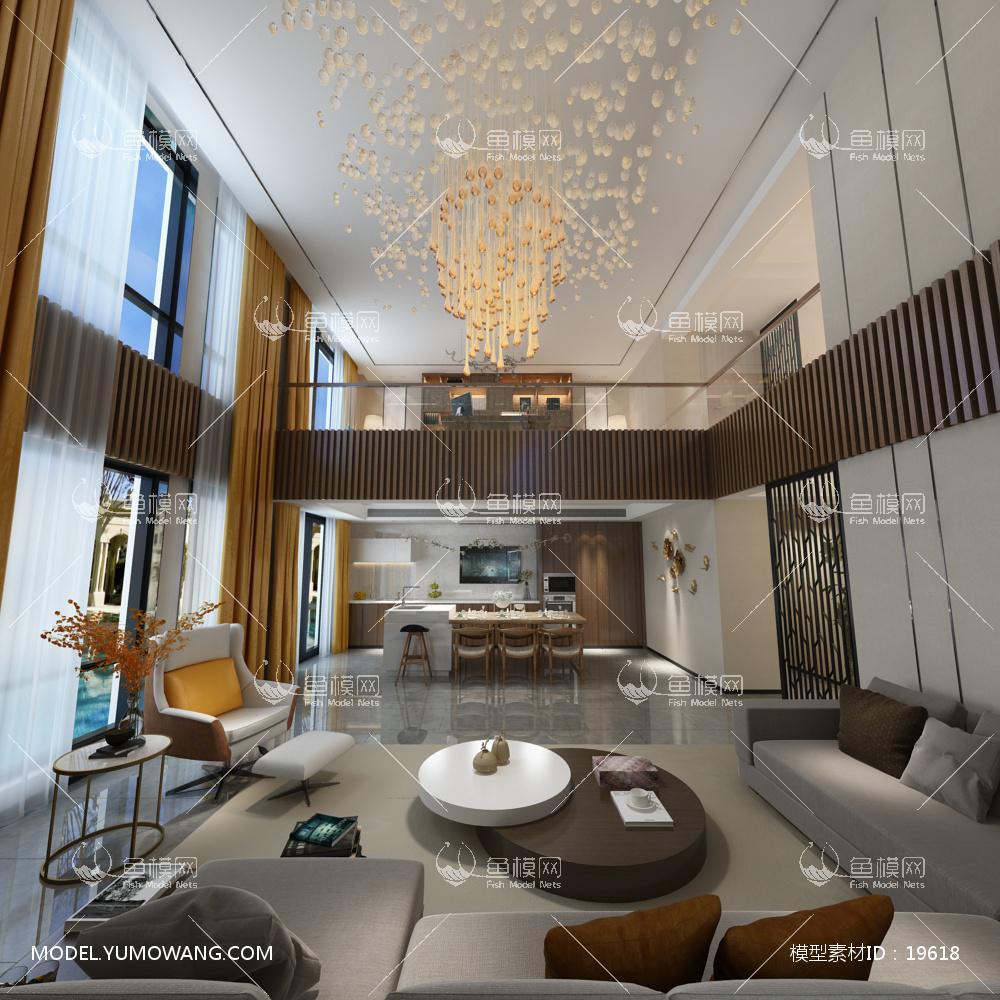现代别墅大厅123d模型