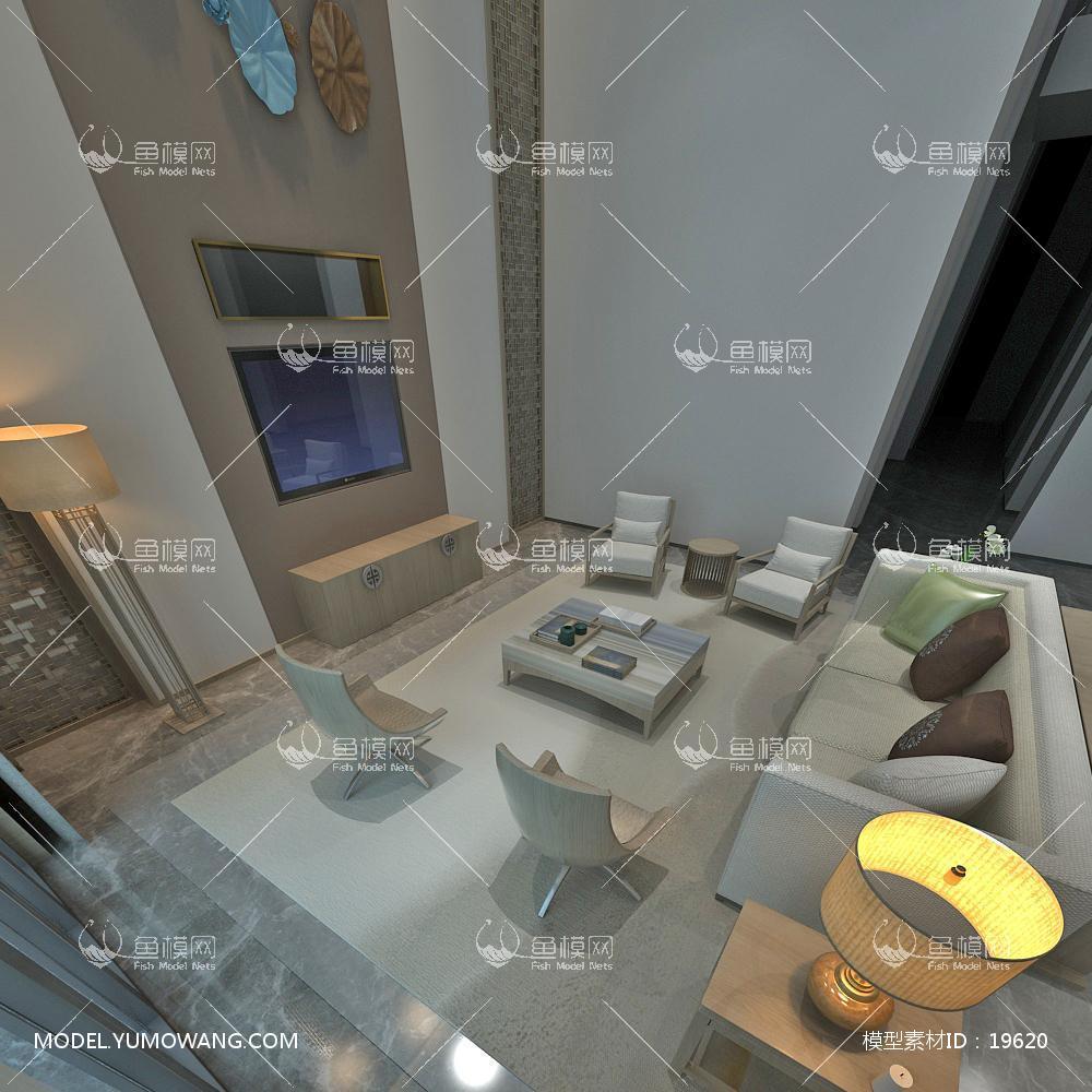 现代别墅大厅153d模型