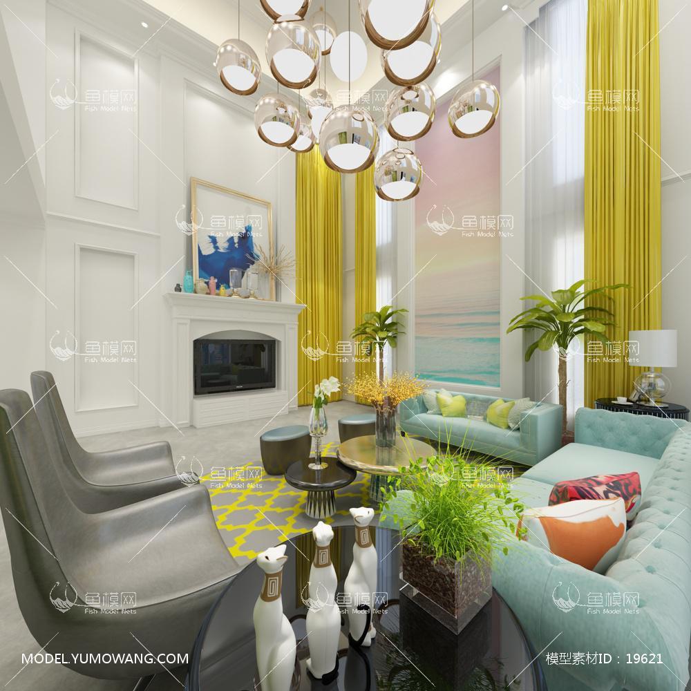 现代别墅大厅163d模型