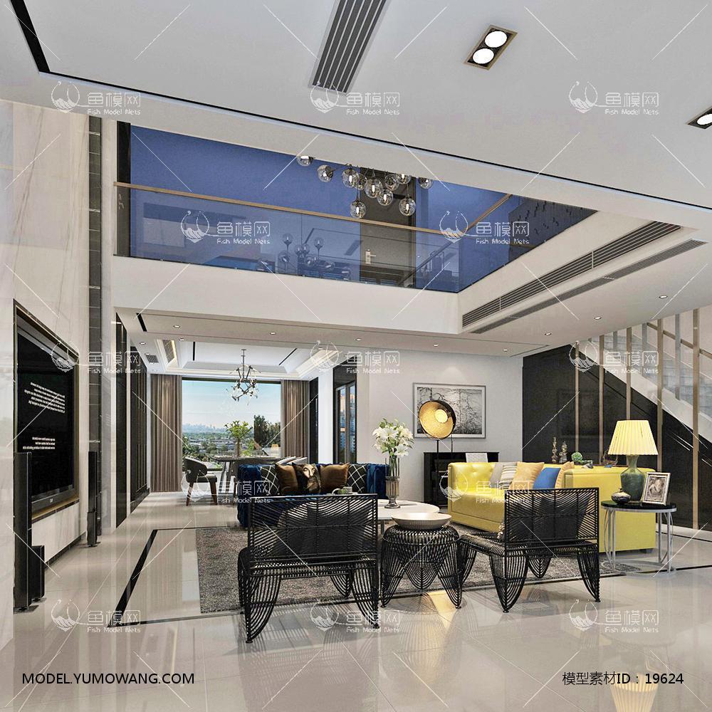 现代别墅大厅83d模型
