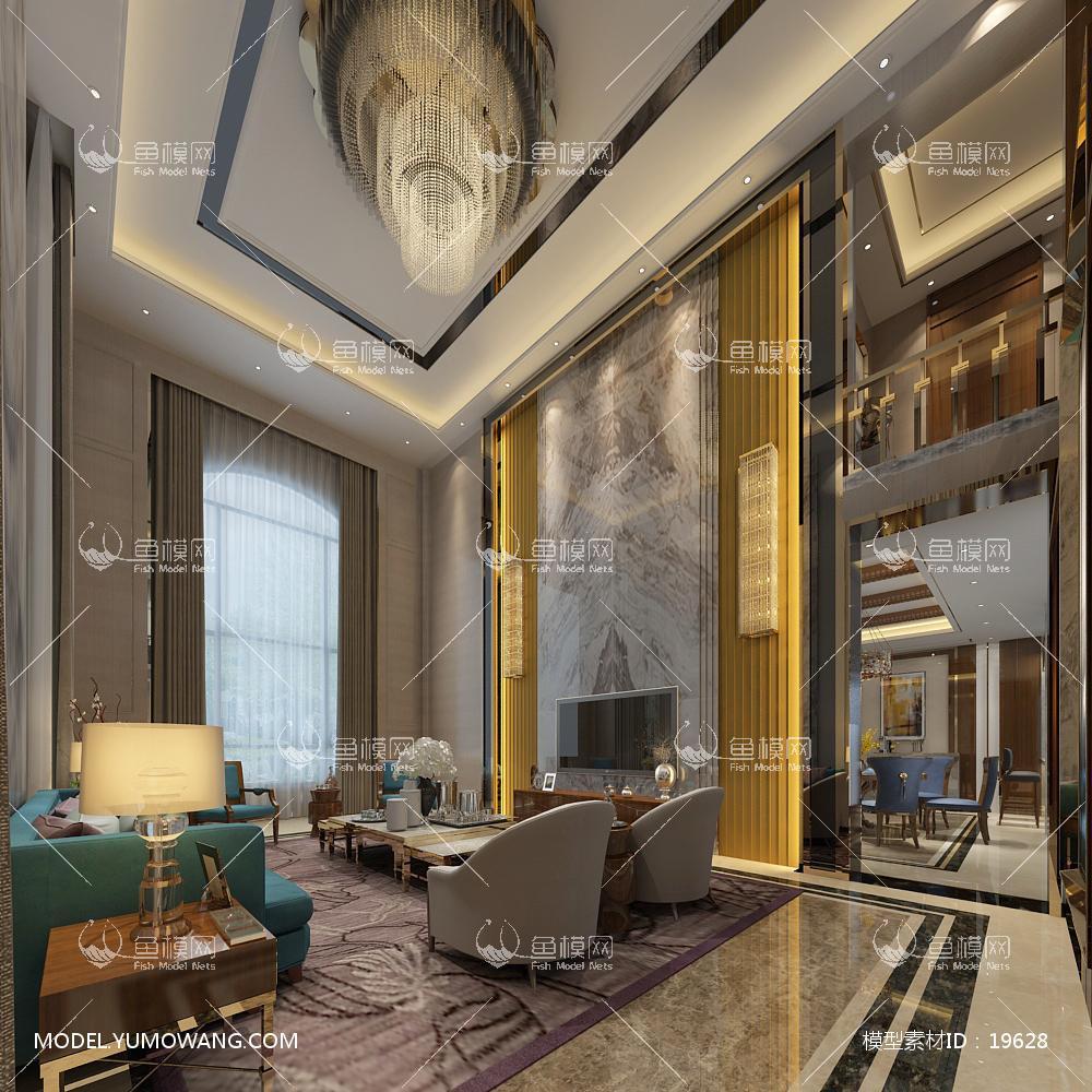 现代别墅大厅173d模型