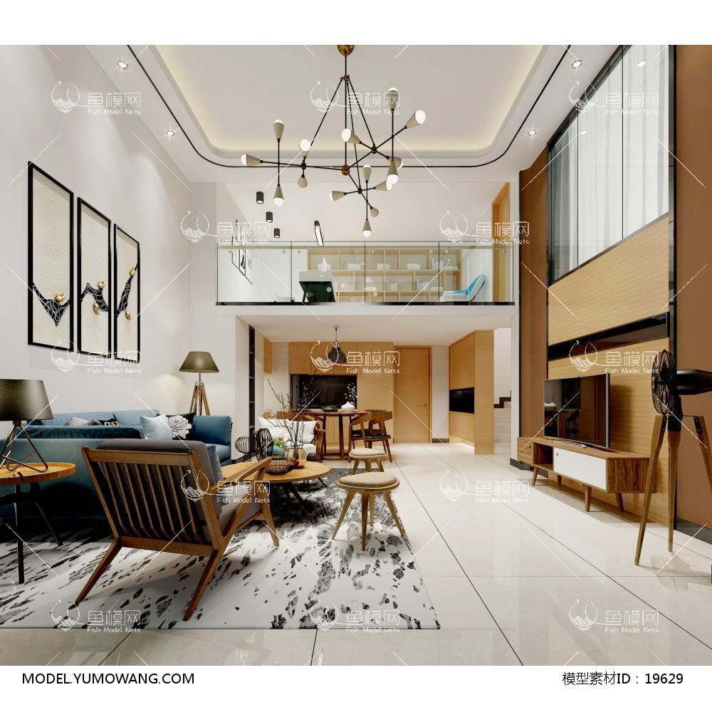 现代别墅大厅283d模型
