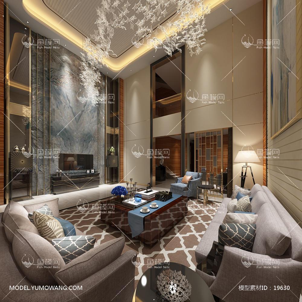 现代别墅大厅63d模型