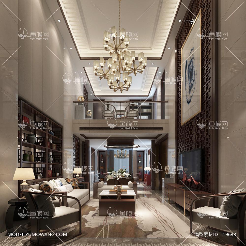 新中式别墅大厅203d模型