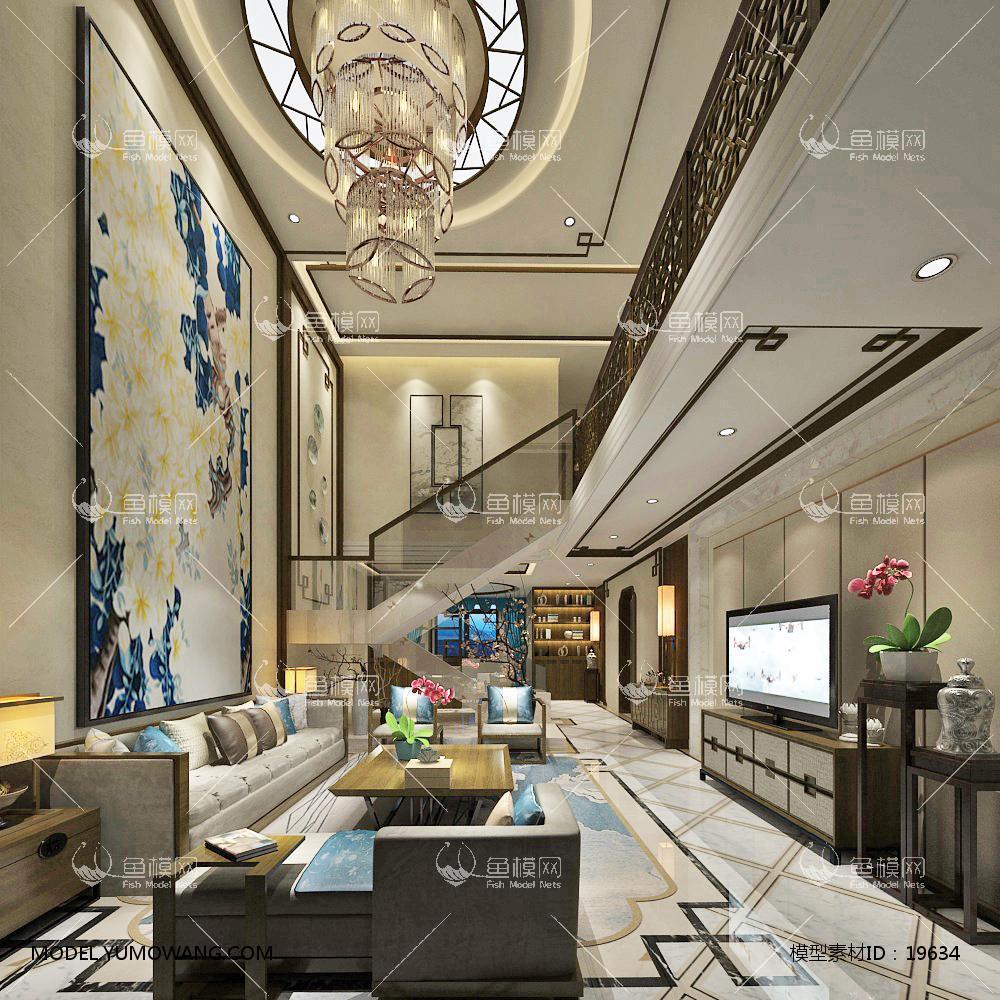 新中式别墅大厅213d模型