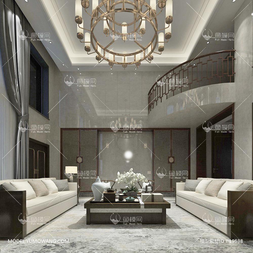 新中式别墅大厅253d模型