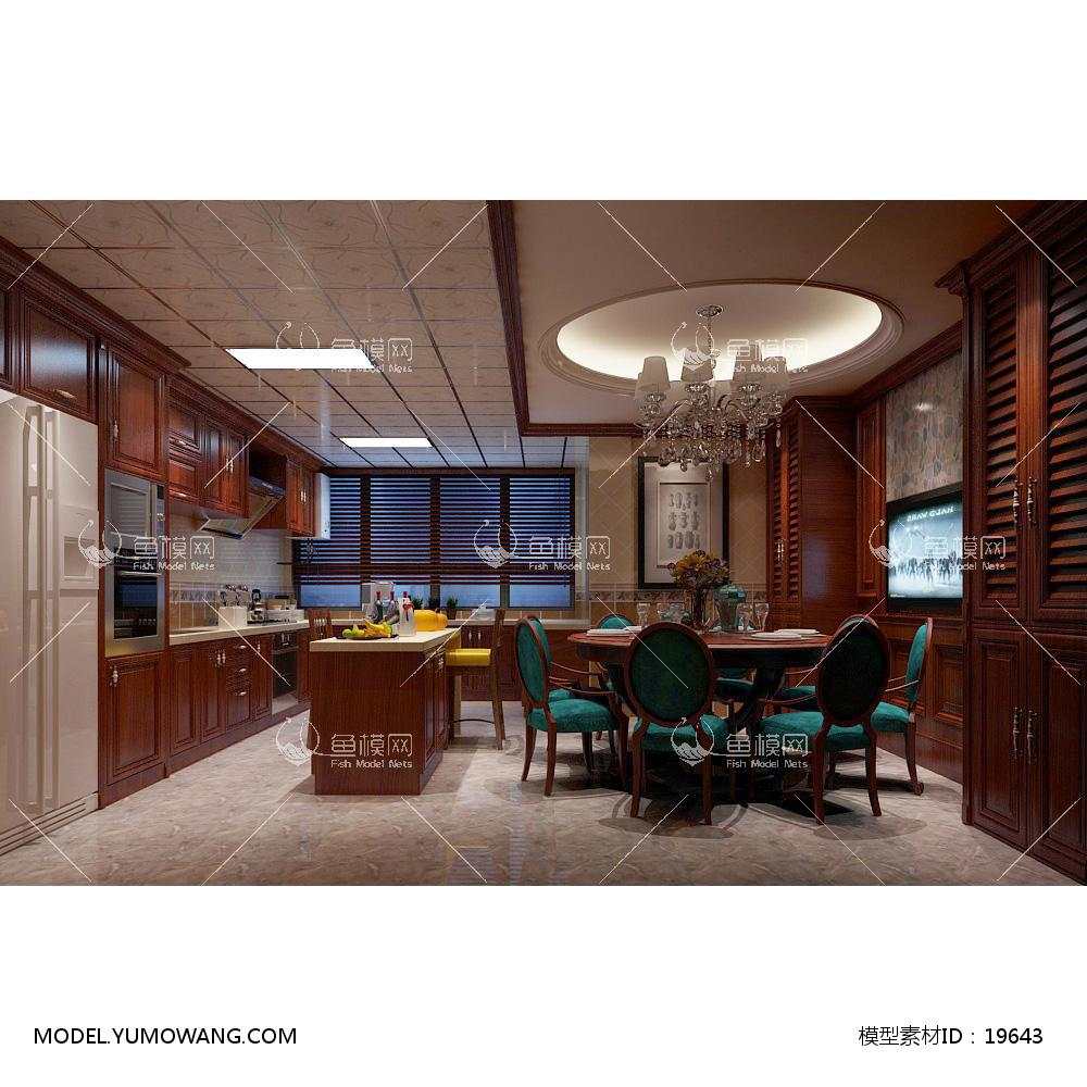 欧式时尚简约大方餐厅 (12)3d模型