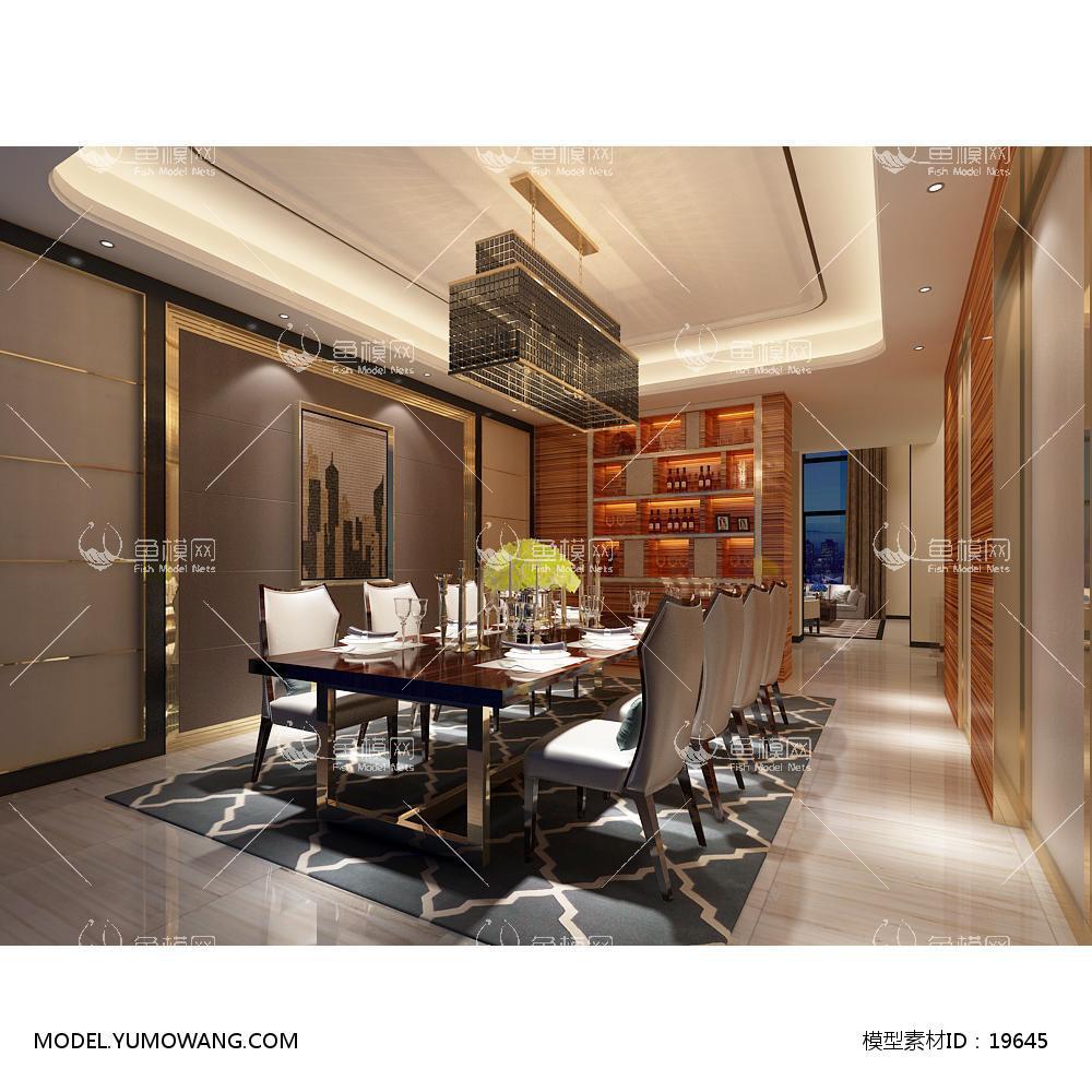 欧式时尚简约大方餐厅 (14)3d模型