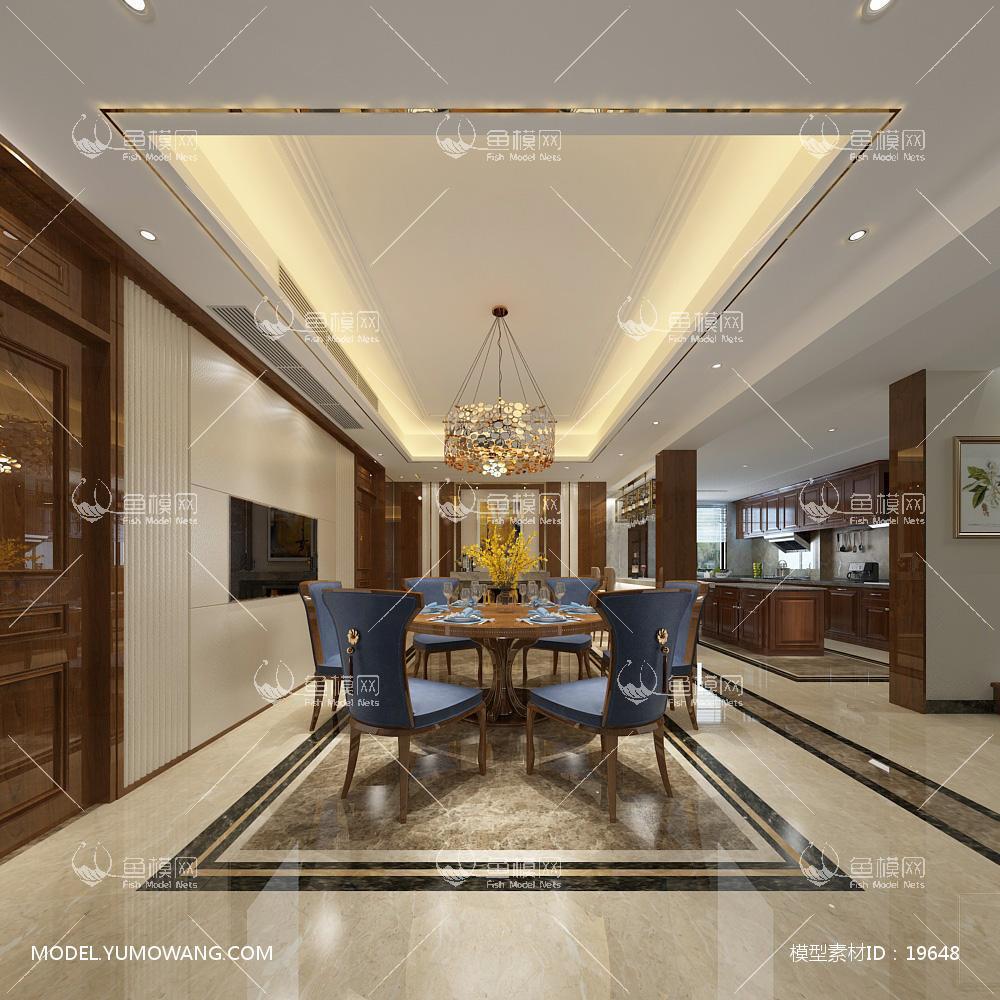 欧式时尚简约大方餐厅 (2)3d模型
