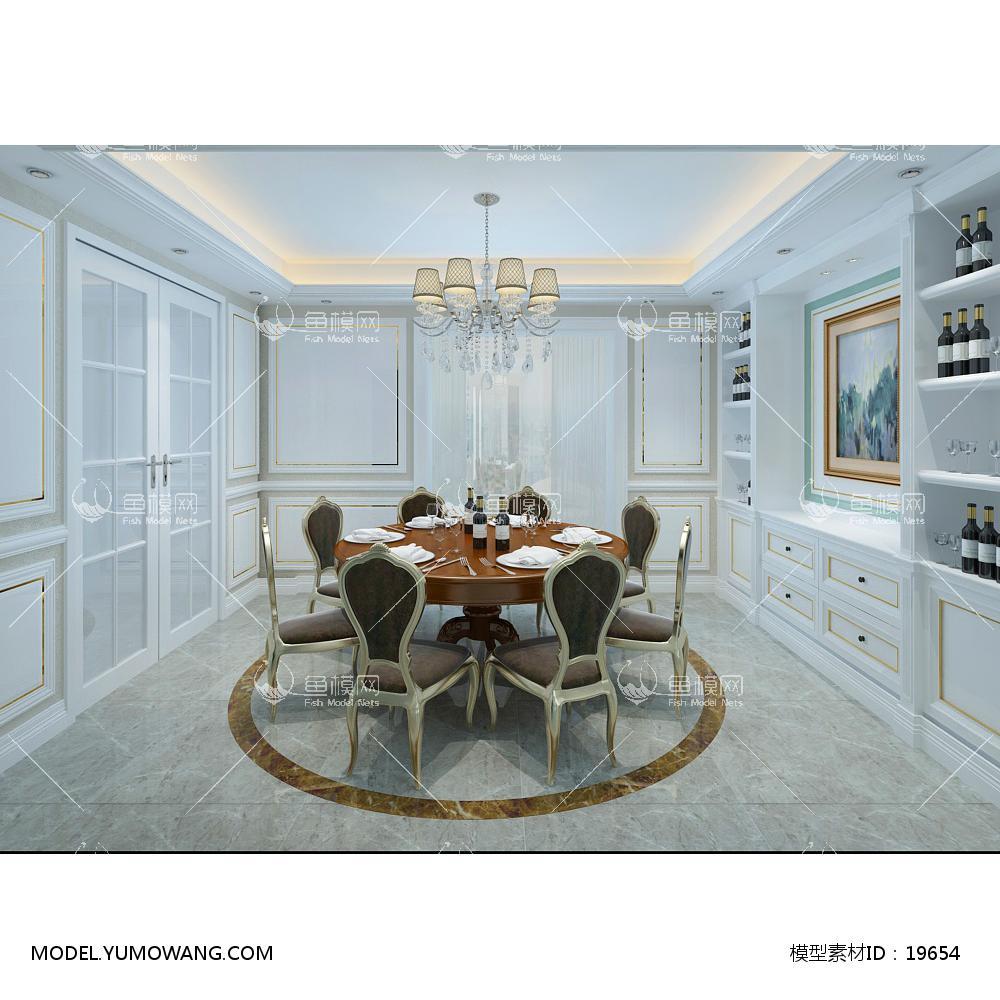 欧式时尚简约大方餐厅 (8)3d模型
