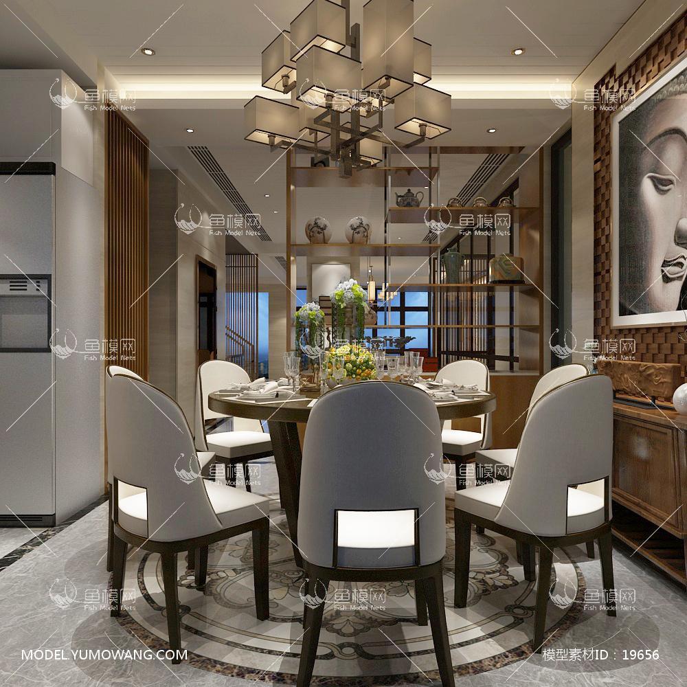 现代风格餐厅 (1)3d模型
