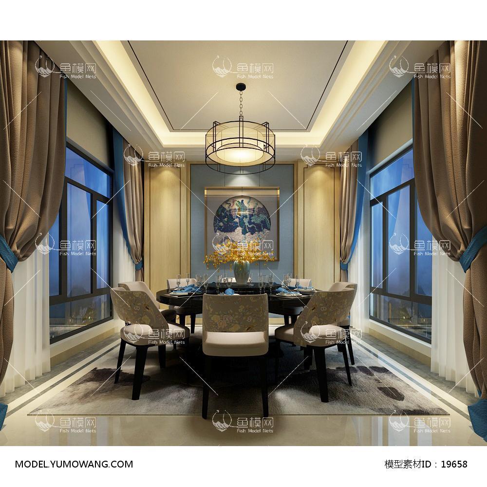现代风格餐厅 (3)3d模型