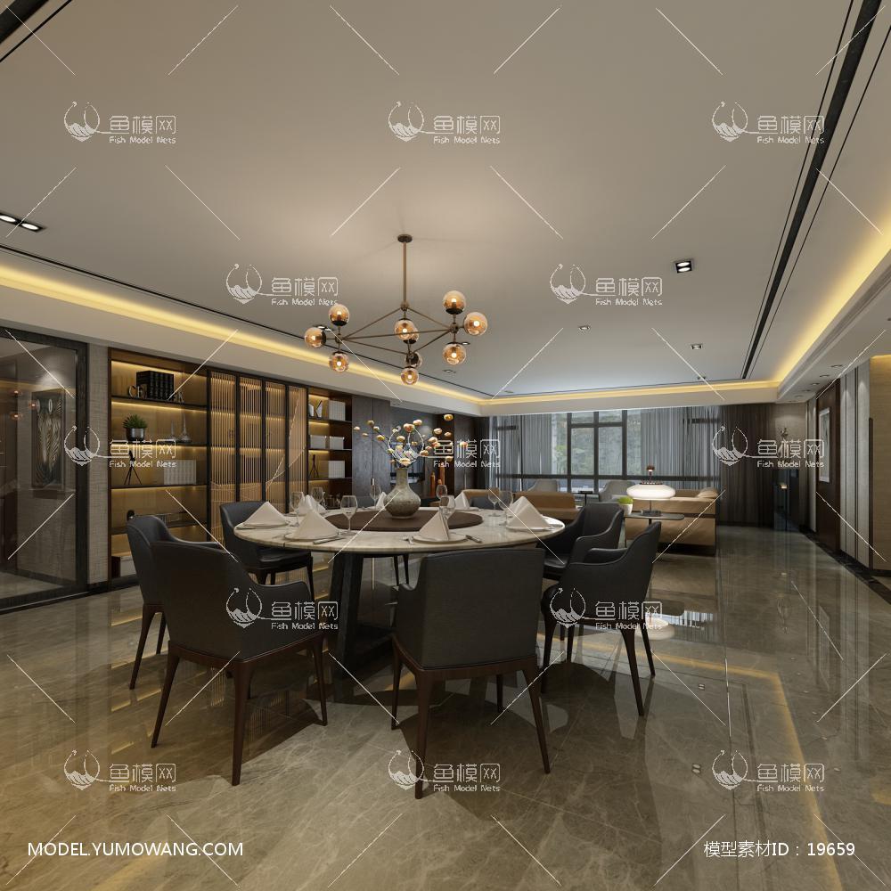 现代风格餐厅 (5)3d模型