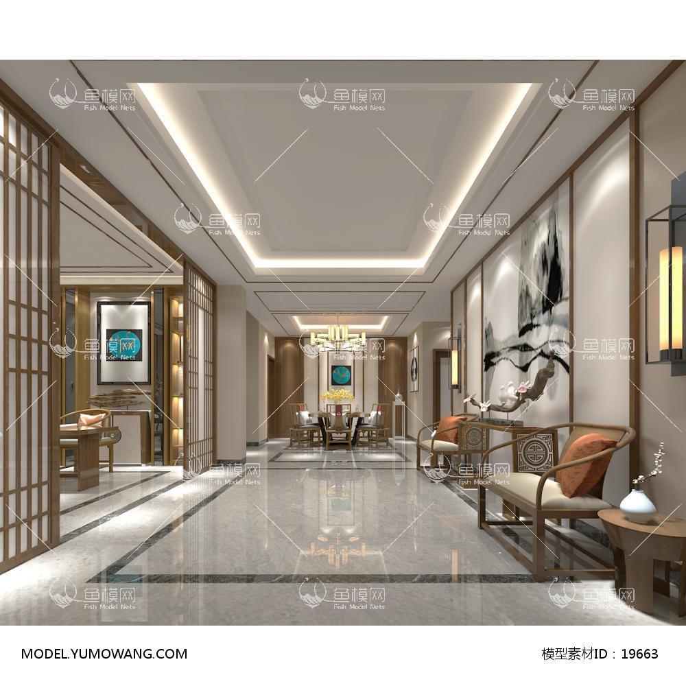 新中式时尚简约大方的餐厅 4 (1)3d模型