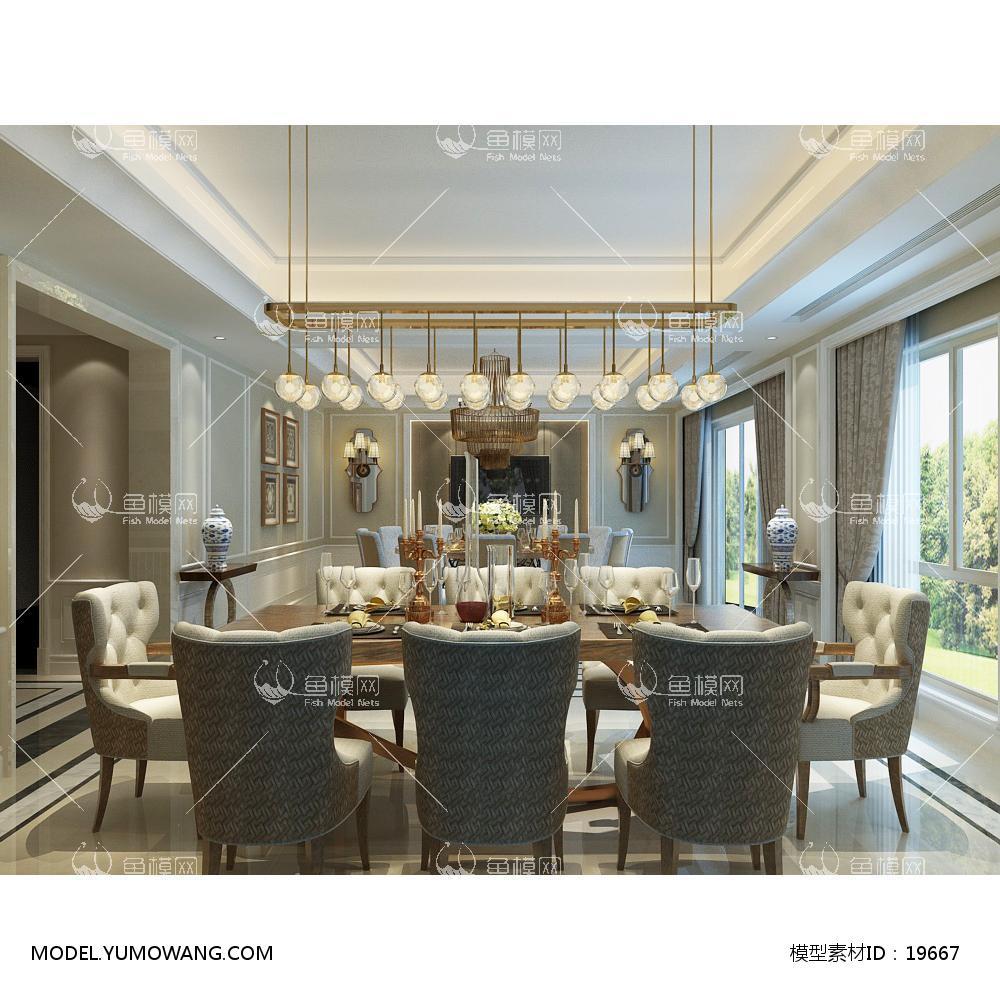 欧风时尚简约大方的餐厅  (5)3d模型