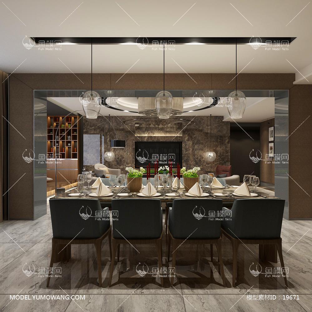 现代风格餐厅 (4)3d模型