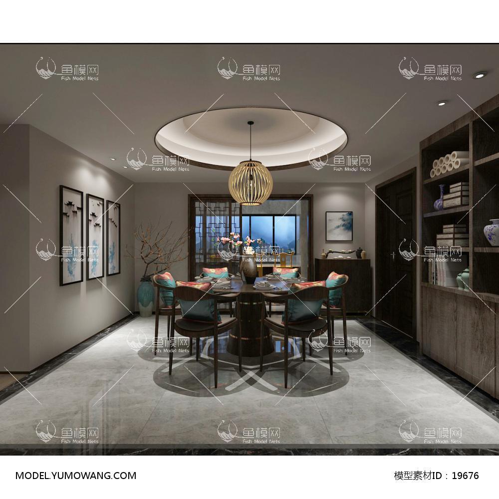 新中式时尚简约大方的餐厅 (3)3d模型