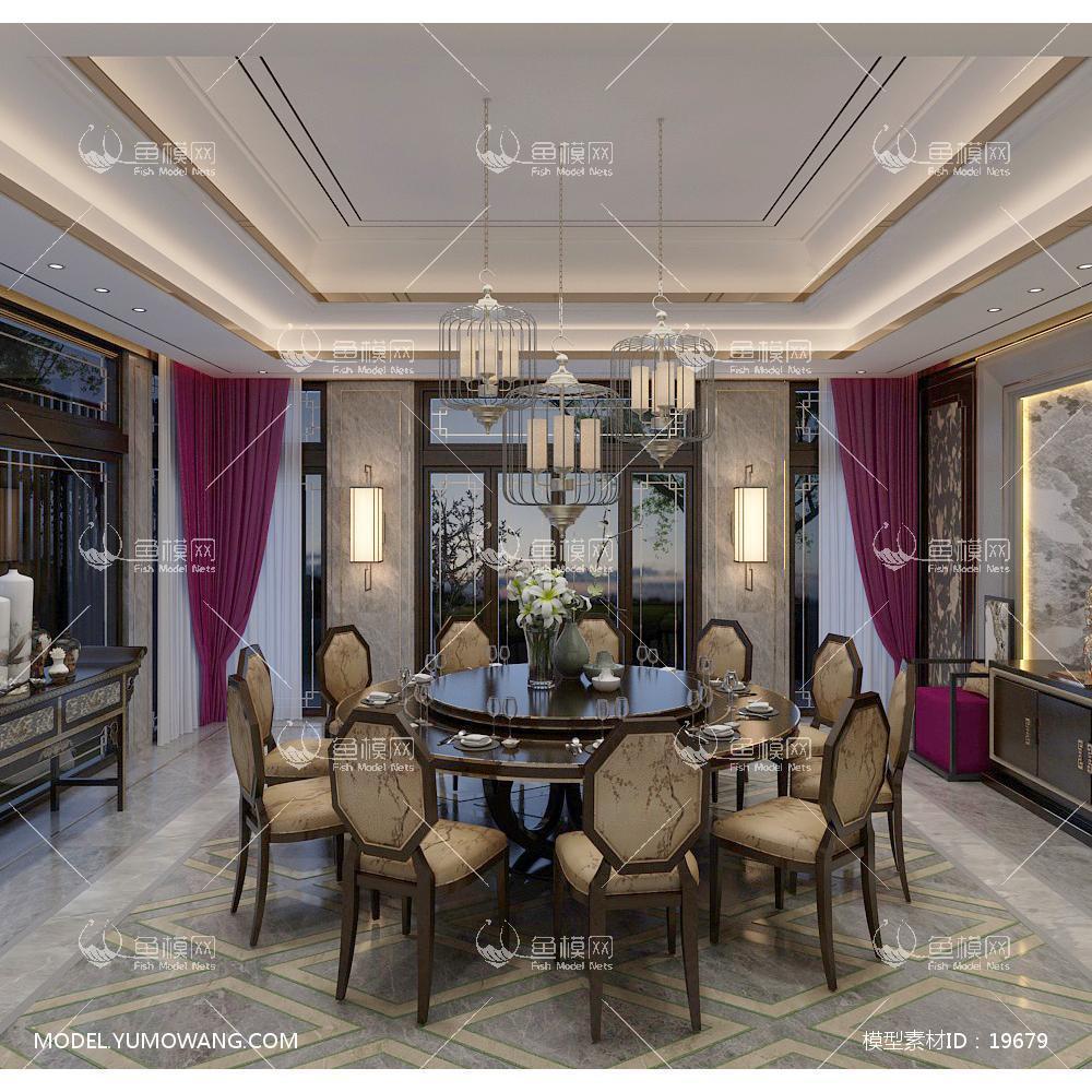 新中式时尚简约大方的餐厅 (6)3d模型
