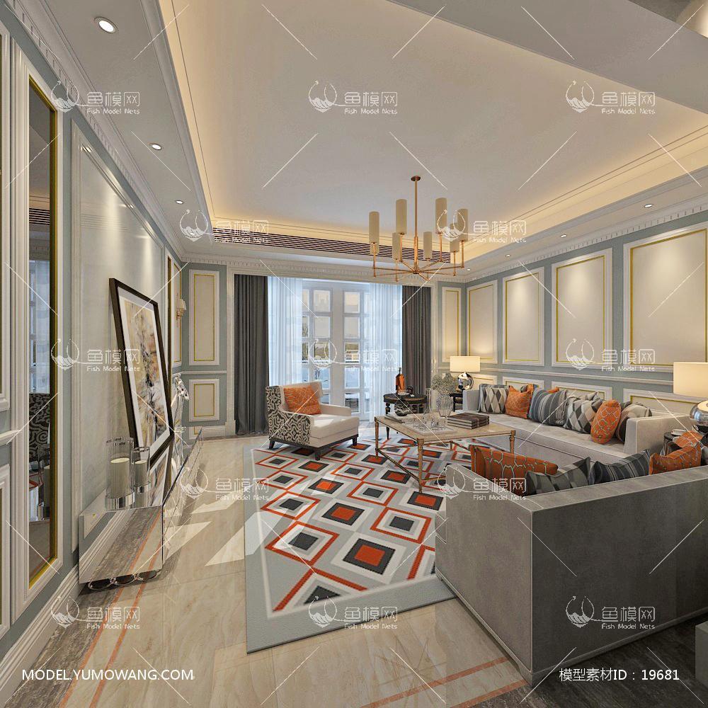 简欧炫光玲珑高大上客厅23d模型