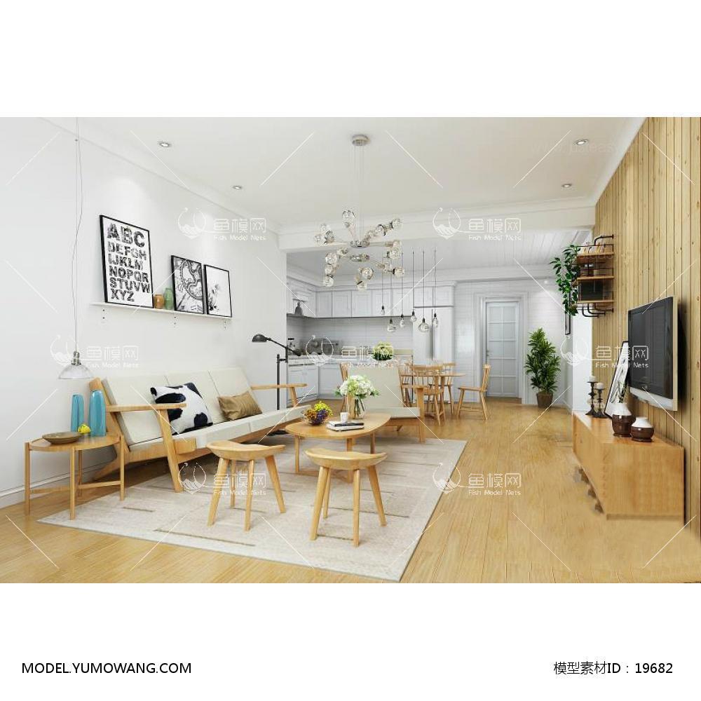 现代风格客厅一3d模型