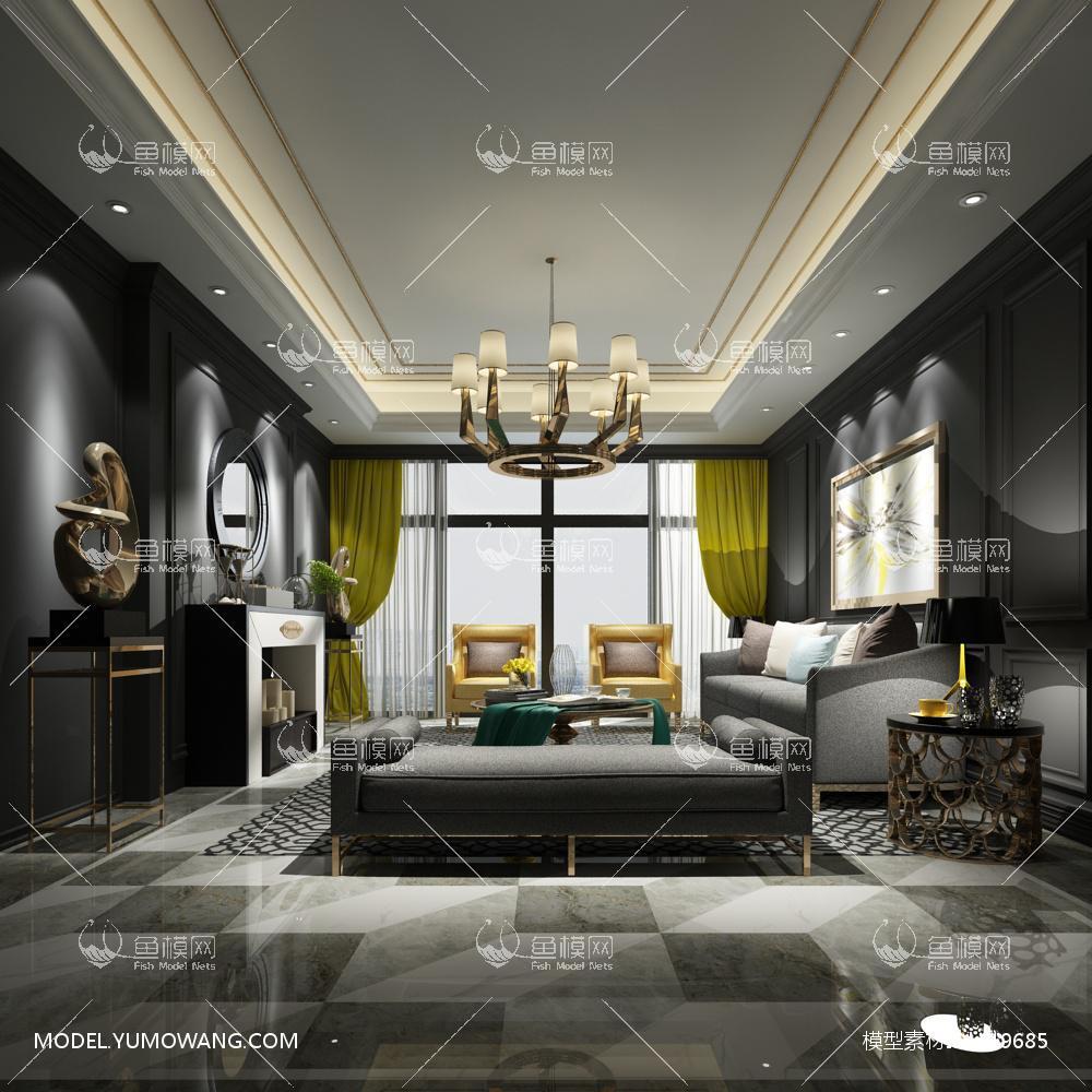 现代简洁大气有格调的客厅113d模型