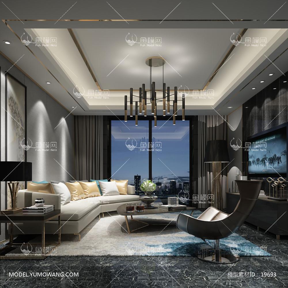 现代简洁大气有格调的客厅33d模型