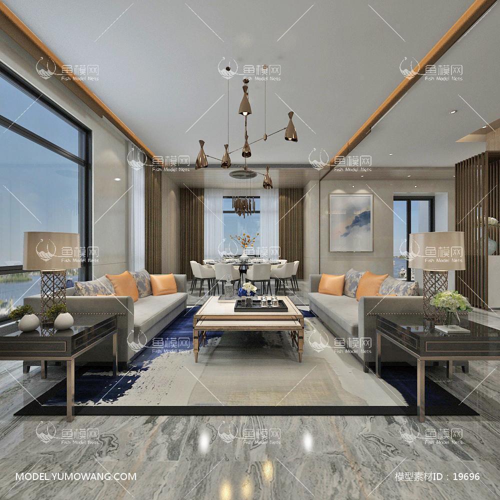 现代简洁大气有格调的客厅323d模型