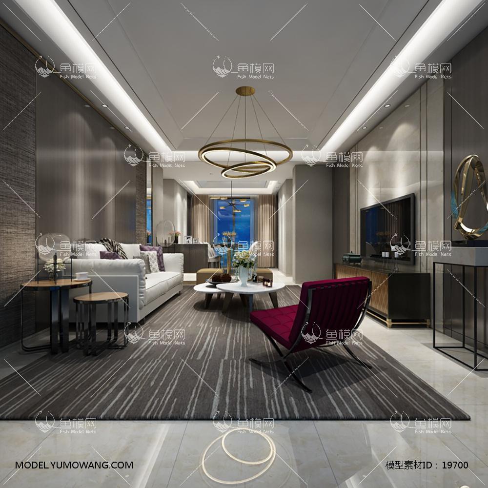现代简洁大气有格调的客厅43d模型