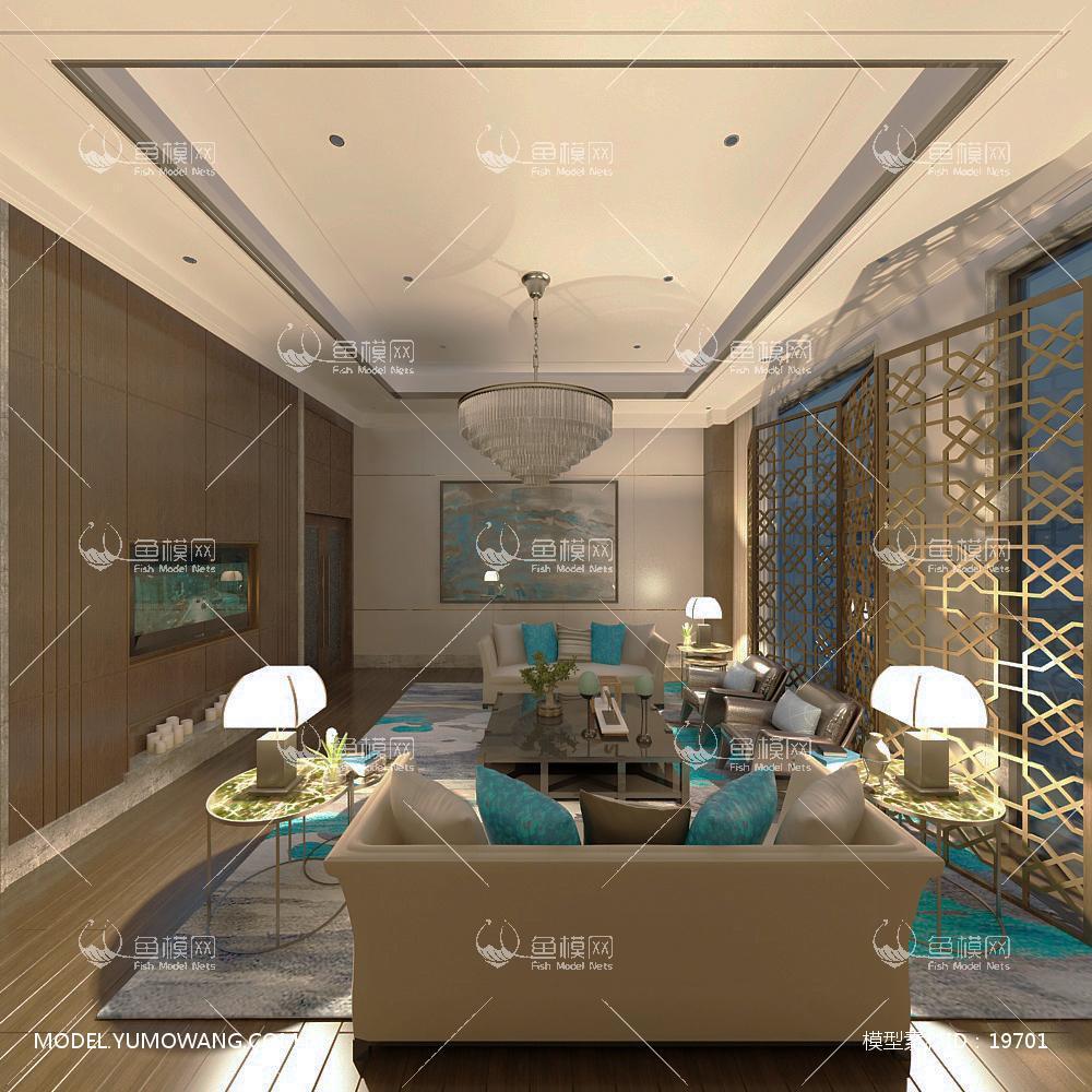 现代简洁大气有格调的客厅433d模型