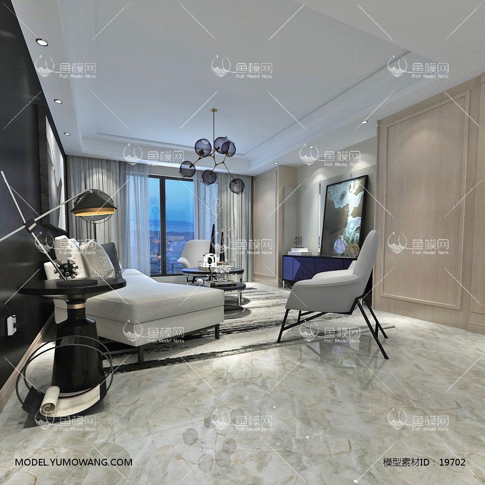 现代简洁大气有格调的客厅443d模型