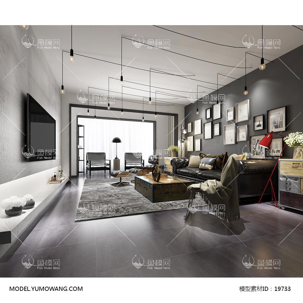 现代简洁大气有格调的客厅163d模型