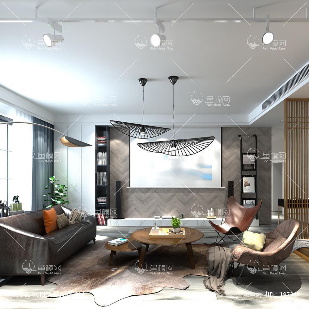 现代简洁大气有格调的客厅193d模型