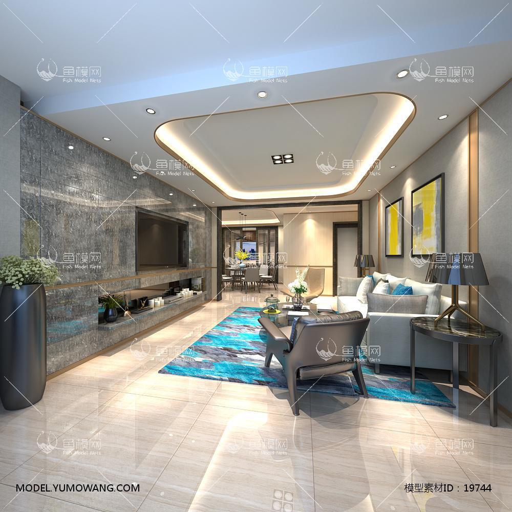 现代简洁大气有格调的客厅353d模型