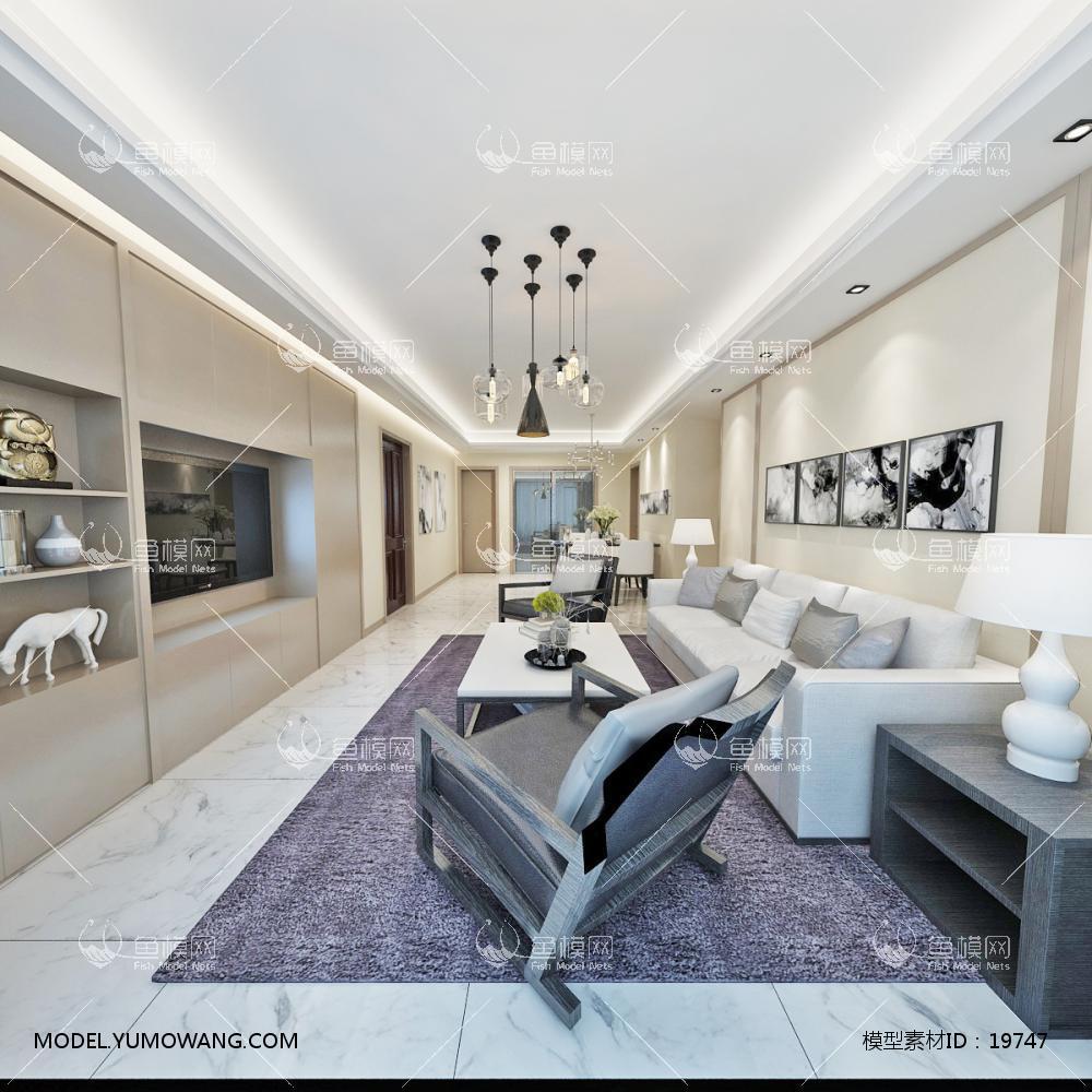 现代简洁大气有格调的客厅413d模型