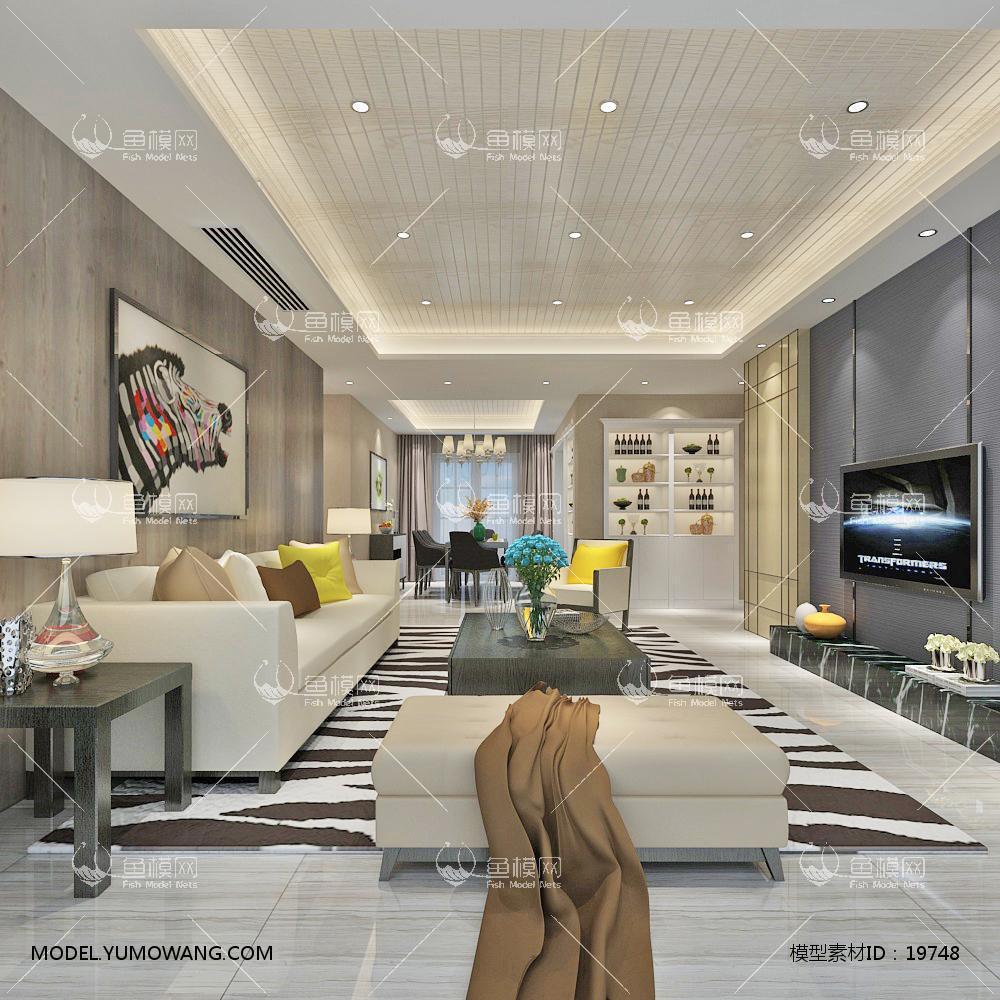 现代简洁大气有格调的客厅423d模型