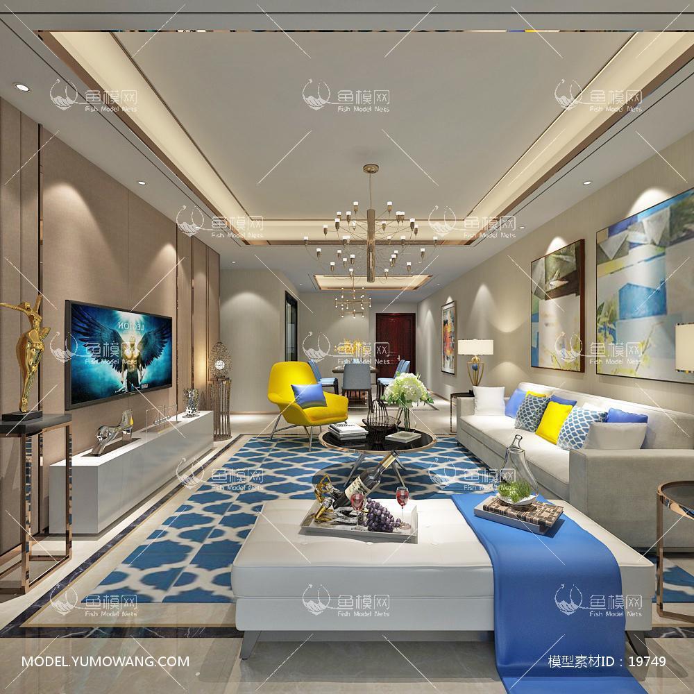 现代简洁大气有格调的客厅473d模型