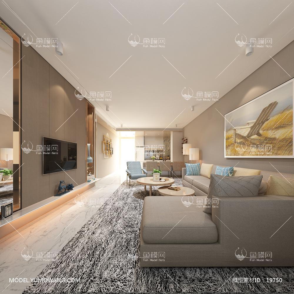 现代简洁大气有格调的客厅623d模型