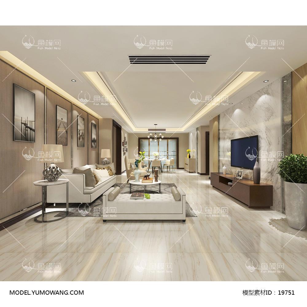 现代简洁大气有格调的客厅663d模型